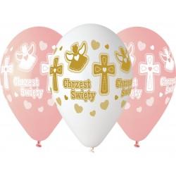 """GEMAR balon a'5 13"""" z nadrukiem chrzest dziewczynk"""