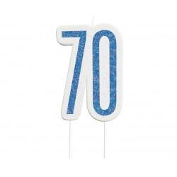 GODAN świeczka cyfra 70 niebieska